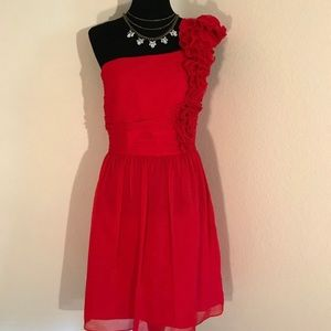 Ellen Tracy Cocktail Dress Red 1 Ruched Shoulder
